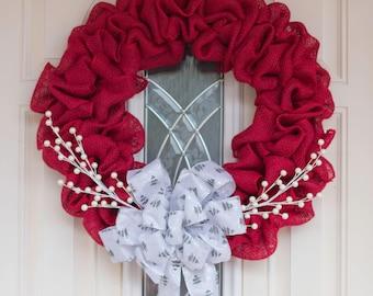 burgundy wreath, christmas wreath, burlap wreath, front door wreath, red wreath, rustic wreath.