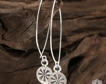 Sterling silver, Drop Earrings, Long dangle Earrings, Silver Lightweight Earrings, Sterling Silver 925, Boho KS-120