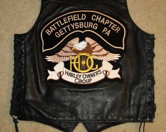 Vintage Leather Motorcycle VEST Jacket harley davidson owners group Sz 40