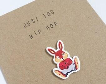Just Too Hip Hop - Rabbit Easter Card - Celebration