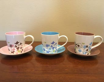Starbucks Spring Floral Mugs with Saucers - Set of 3