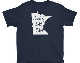 Land of 11,842 Lakes - Minnesota 10,000 Lakes T-Shirt Kids/Youth Short Sleeve T-Shirt