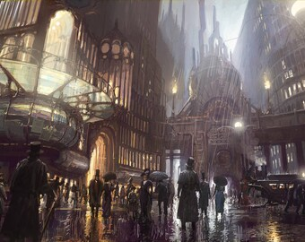 Steampunk sciencefiction cityscape