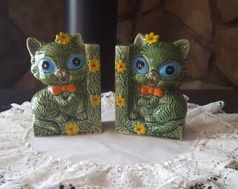 Bookends, Cat Bookends, Vintage Bookends, Green Bookends, Ceramic Book Ends, Cat Bookend, Cat Figurine, Cat Lover Gift, Cat Gift,