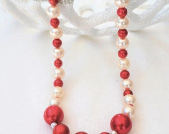 red &white handcrafted beaded necklace