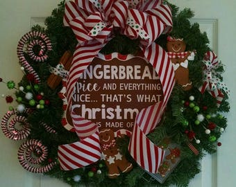 Gingerbread Christmas Wreath, Gingerbread Wreath, Gingerbread Man Wreath,  Christmas Wreath