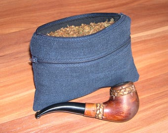 Tobacco and pipe pouch / jeans tobacco pouch / tobacco bag /man pouch / gift for him
