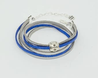 Double bracelet with Silver Star bead, suede Suede Blue and gray, modern style.