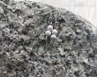 Matte White Howlite Gemstone Dangle Earrings