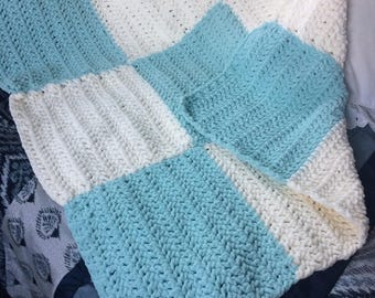 Mint and cream checked toddler crocheted afghan