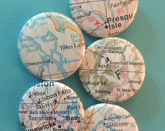 Maine Vintage Travelmap Button Set