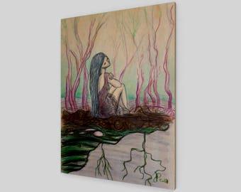 La songeuse - Wood Print