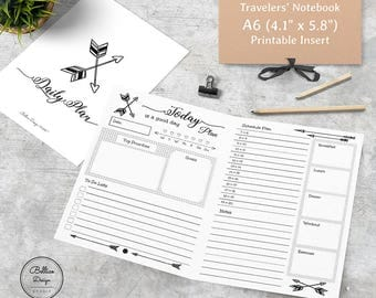A6 Daily Planner, Planner Inserts A6, Planner Inserts Printable, A6 TN Printable Inserts, Boho Planner, Daily Planner Notebook, A6 TN Insert