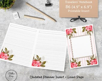 B6 Planners, Refillable Notebook, Lined Inserts, Daily Planner Inserts, B6 Printable Inserts, Undated Printable Planner, B6 TN Printables