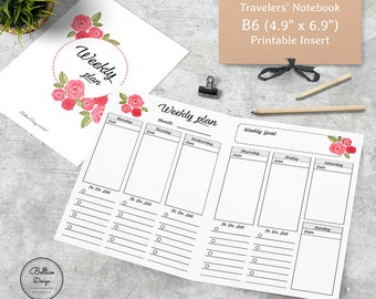2 Pages per Week Planner, B6 Weekly Planner Inserts, Flower TN, Weekly Planner Printable, Undated Weekly Planner, B6 TN Inserts, B6 Planner