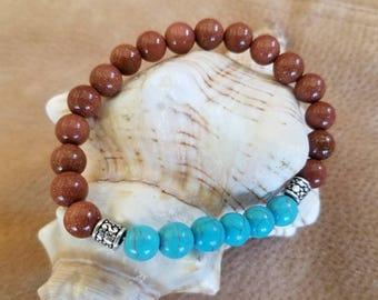 Blue Turquoise and Gold Sandstone Gemstones