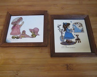 2 pcs set Sarah kay painting Mirror 1970