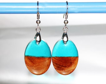 Wood Earrings Bohemian Jewelry Gift, Oval Wood Resin Jewelry Cute Earrings Nature, Gift Resin Earrings Modern Jewelry Birthday Women Gift