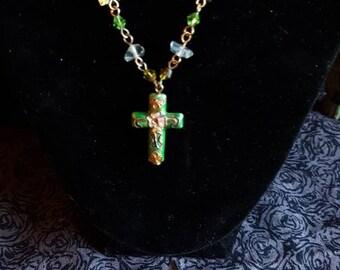 Pretty green cross pendant necklace