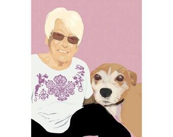 Custom Pet Illustration   Family Illustration with Pets   Digital   Custom Portrait   Illustration of Couple   Uniqued Gifts