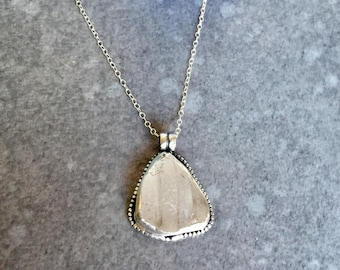 Textured White Sea Glass Necklace