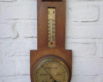 Old Vintage Barometer | Thermometer | Storm glaas barometer | Aneroid mechanism | Collection piece | Functional | Wooden Frame