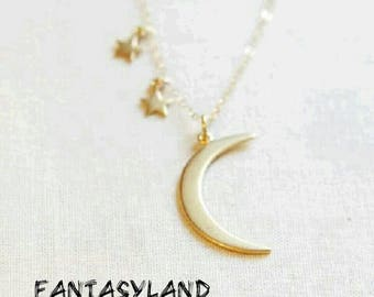 Peter Pan Necklace Second star right.... gold-colored stars and moon
