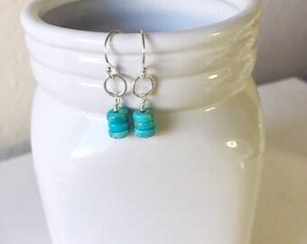 Turquoise earrings, dainty earrings,December birthstone,gift for her,birthday gift,sterling silver earrings,turquoise dangle earrings