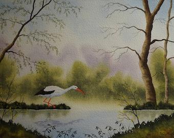 Stork, pond, hand painted, Art, Original watercolor, landscape painting, trees, blue sky, calm, idyll landscape, quaint