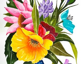 "Original Watercolor Painting Flowers, Colorful Flowers, 9x12"", Flower painting, Nature, Garden lovers, Flower Wall art"