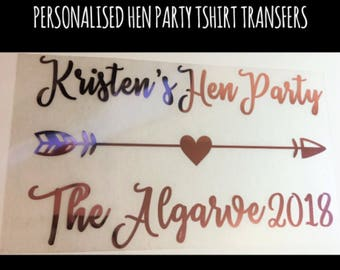 Personalised Hen Party t-shirt transfer, Wedding decal, Heat Transfer, DIY transfer, Iron On, Hen Party, Bride, Bridesmaid, Wedding