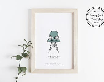 Eames Poster_Eames Wire Chair -  Modern Art Print, Travel Poster, Illustration Print, Mid Century Modern Poster