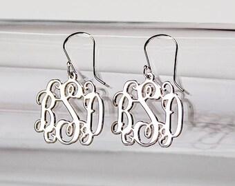 Monogram Earrings in Sterling Silver 0.925