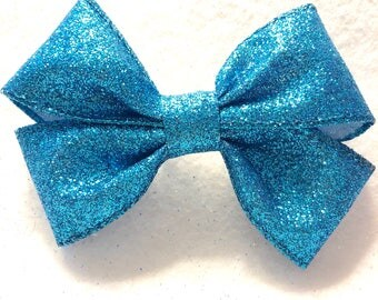 Girly Teal Glitter Bow
