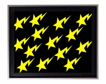 Bapesta Yellow and Black Stars Poster or Art Print (a bathing ape)