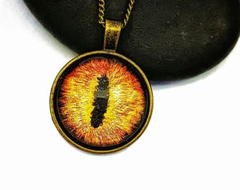Eye of Sauron/ Glow in the Dark Dragon Eye Pendant/Bronze Necklace/ Gifts For Mom/  Eye Necklace/ Fantasy Jewelry/ Hand Painted Jewelry/