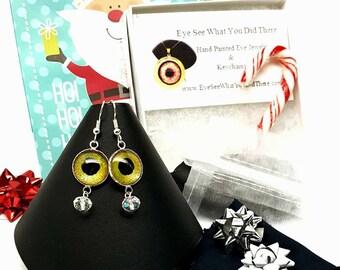 Green Glow in the Dark Evil Eye Earrings\ Evil Eye\ Green  Earrings\ UV Reactive Jewelry\ Gift Idea for Her\ Hand Painted Evil Eye\ Trendy