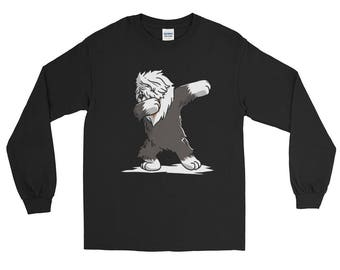 Cute Dabbing Old English Sheepdog Dog Long Sleeve T-Shirt Funny Dab Dance Gift