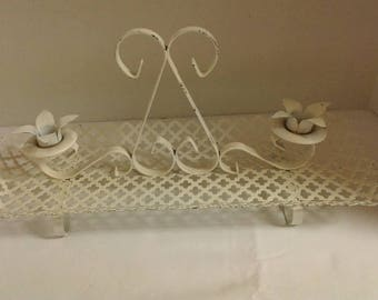 White metal double candle holder