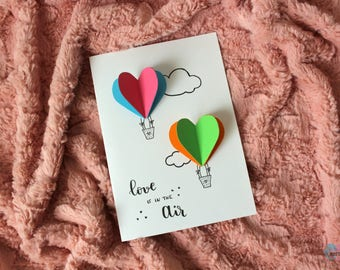 """Love is in the air"" card-anniversary, birthday, wedding, Valentine's Day-3d heart shaped balloons"