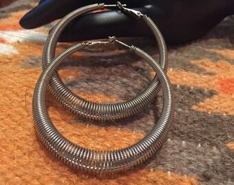 Silver wire hoop earrings/ BlueSpiralCo