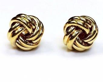 10k solid yellow gold(10mm)love knot stud earrings(3.1gr)