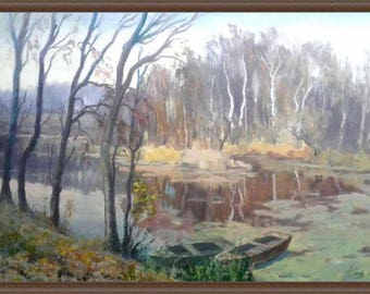 Autumn Silence with oil. Painting on a DVP Landscape with oil Impressionism painting Painting art landscape in oil Author's Oil Painting