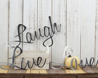 Genial Live Laugh Love Metal Signs | Metal Wall Art | Word Wall Art | Steel Sign