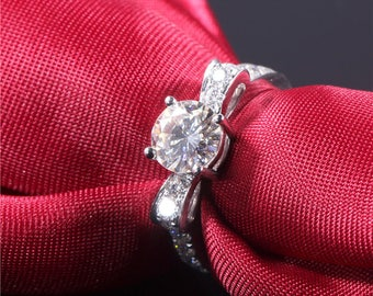 Engagement Ring 1.2 CT diamond moissanite. Engagement ring -  Genuine Diamond 1.2 ct moissanite engagement ring