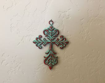 Beautiful Turquoise Cross with Red Accents