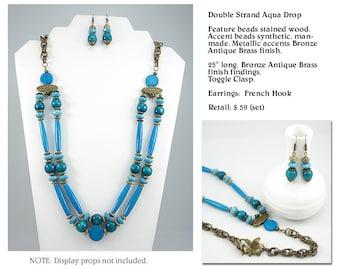 Aqua Drop Turquoise Look Double Strand Necklace Set