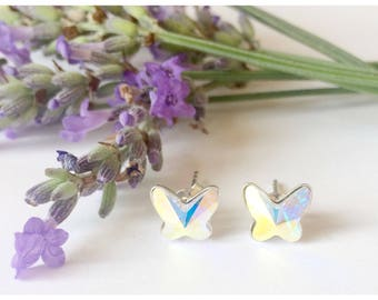 Sterling silver butterfly earrings made with Swarovski crystal, bridesmaid jewelry, flower girl jewelry