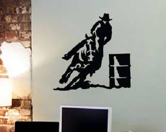 Wall decals cowboy barrel racing horse Western horse saddle 57 x 57 cm