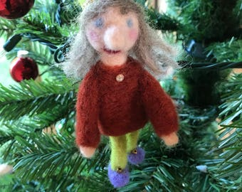 Needle Felted Lady Gnome Ornament